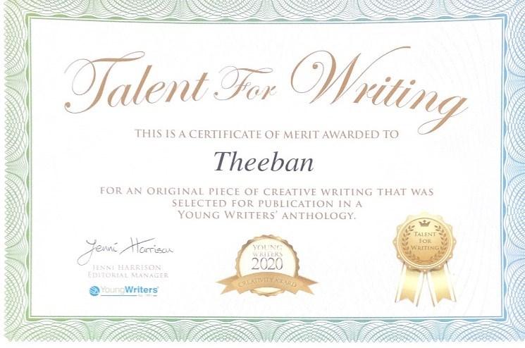 Theeban writing certificate.png